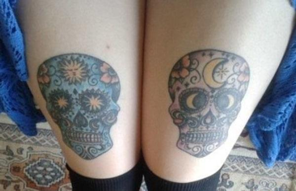 The best couple tattoo for both the thighs of a girl