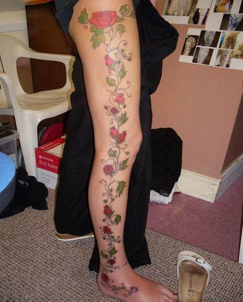 A lovely full leg tattoo design for girls