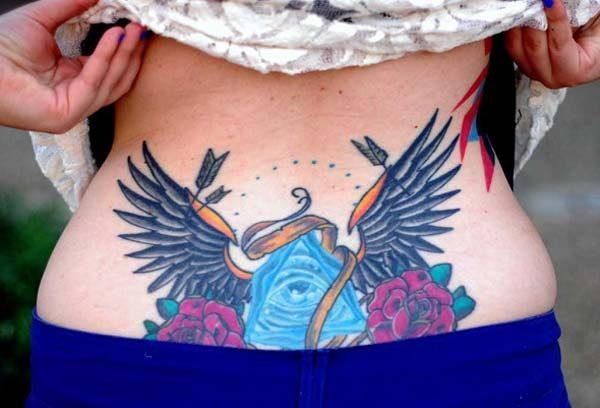 A captivating lower back tattoo design for Women