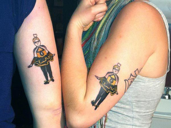 A cute matching tattoo design for girls