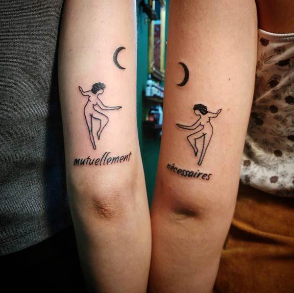 An engaging matching tattoo design for ladies