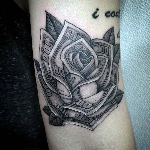 A gorgeous money tattoo design for girls and ladies