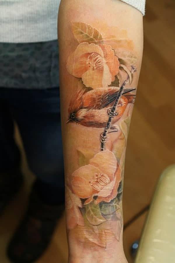 цветочные и птичьи татуировки