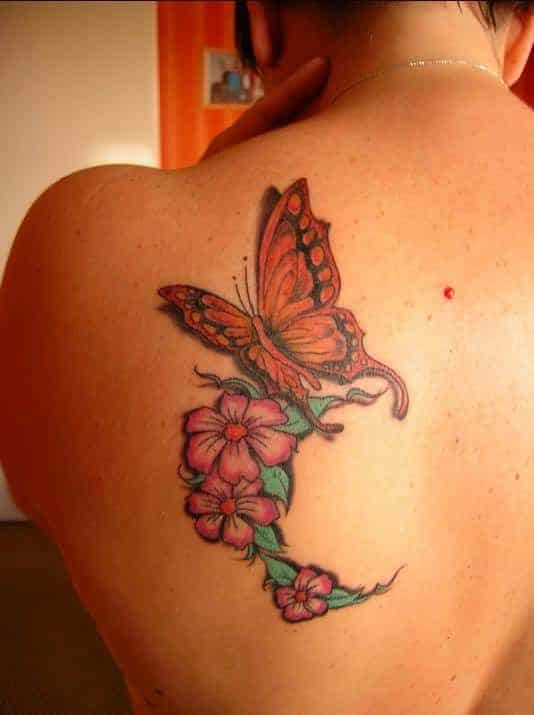 butterfly flower tattoos