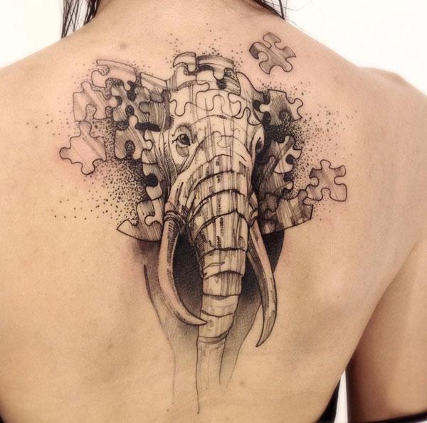 ελέφαντα πίσω τατουάζ