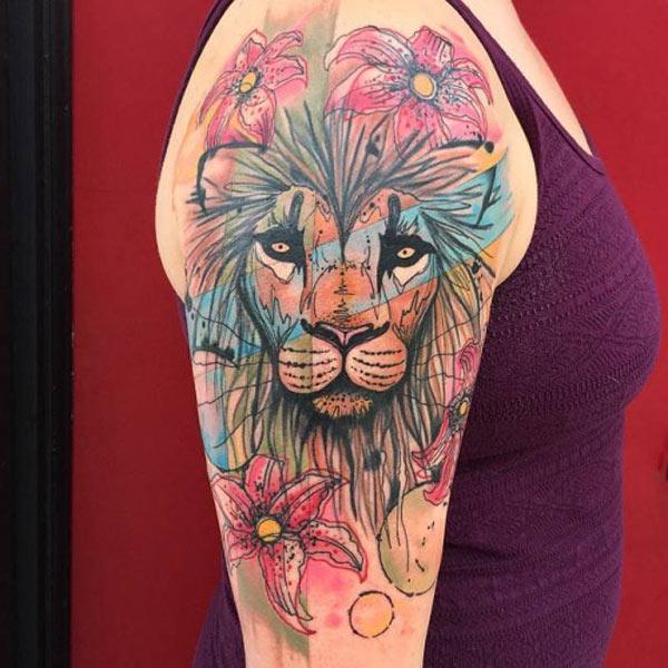 colorful lion tattoo