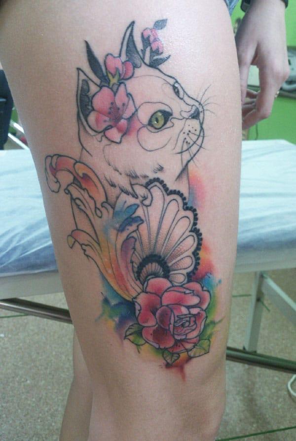 सुंदर मांजर टॅटू
