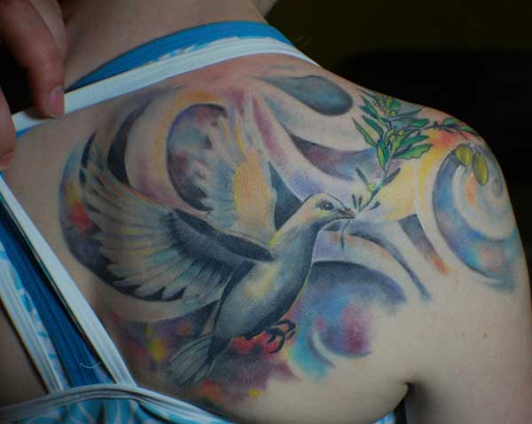 colorful dove tattoos