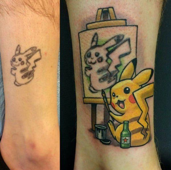 Pokemon tats on the legs
