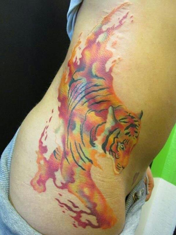 tiger tattos on side