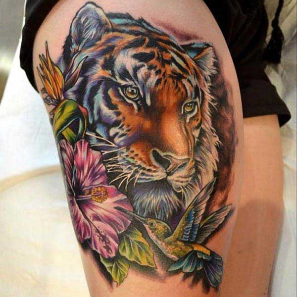 tiger tattooss on thigh