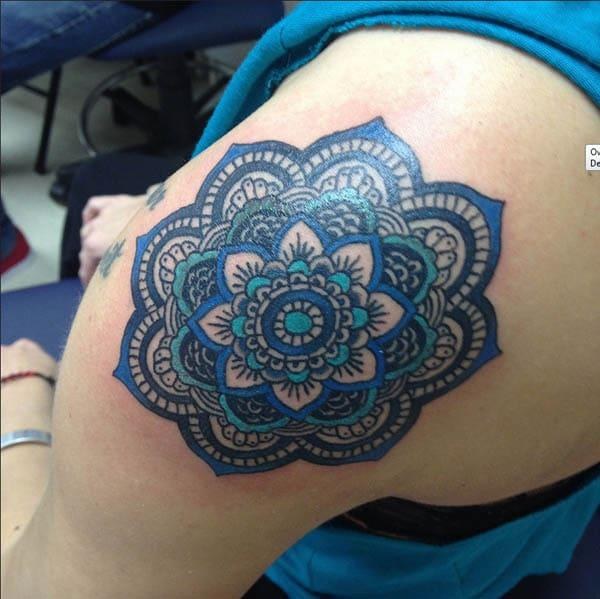 mandala shoulder tattoos