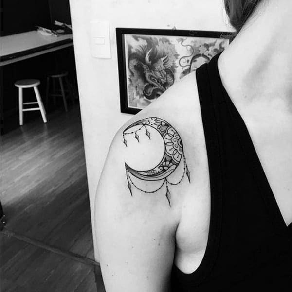 moon shoulder tattoos