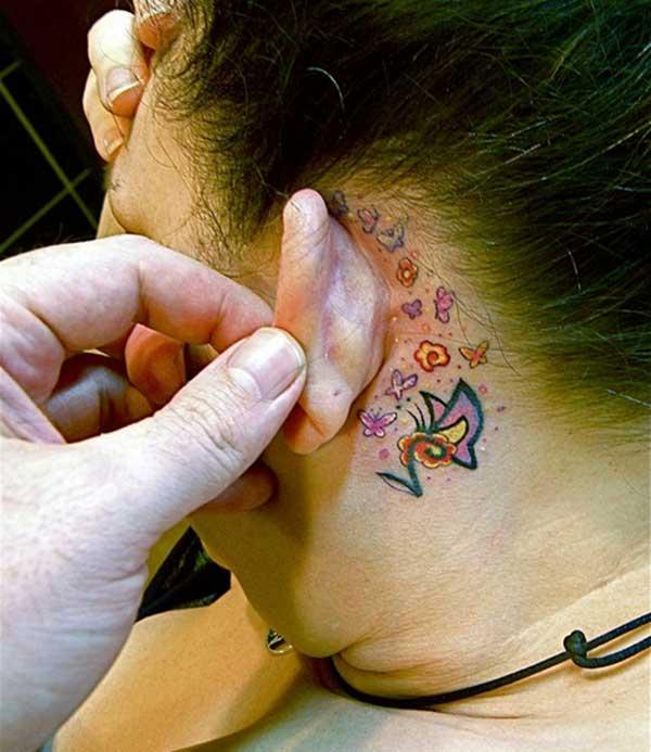 कान टॅटू मागे आश्चर्यकारक