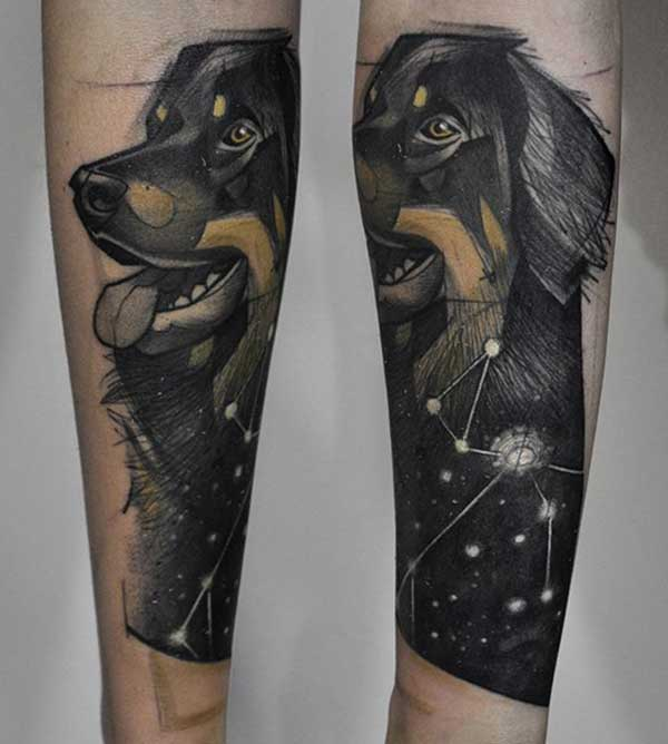 arm dog tattoos