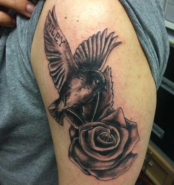 птушка палова рукаў татуіроўкі для мужчын