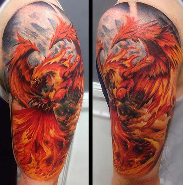 fiery half sleeve tattoo per l'omi