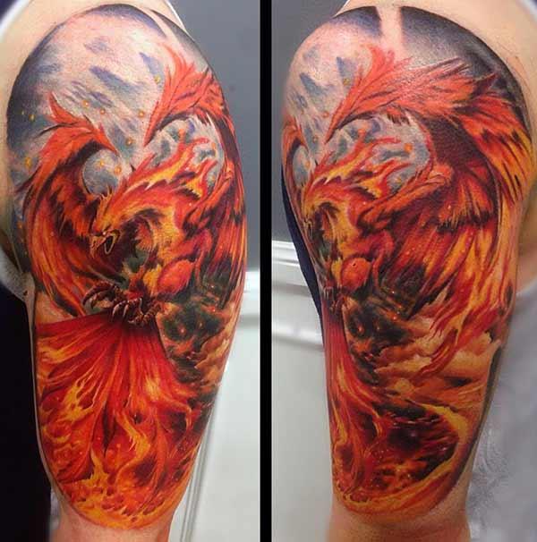 огненная татуировка с двумя рукавами для мужчин