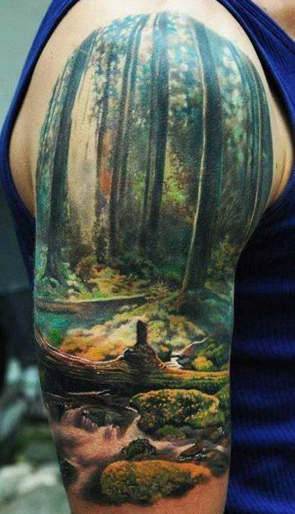 nature half sleeve tattoo for men
