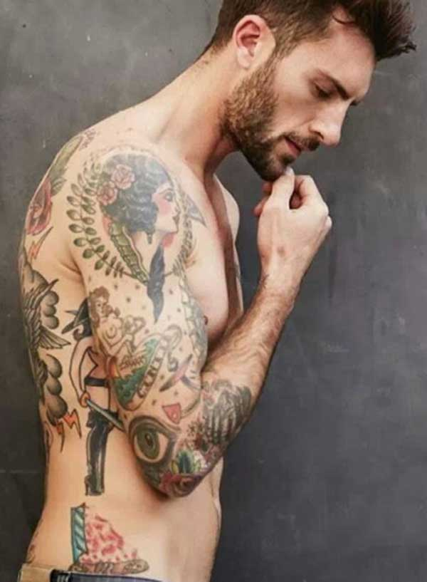 cool cool half sleeve tattoo for men