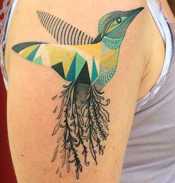 kleurige hummingbird tattoos