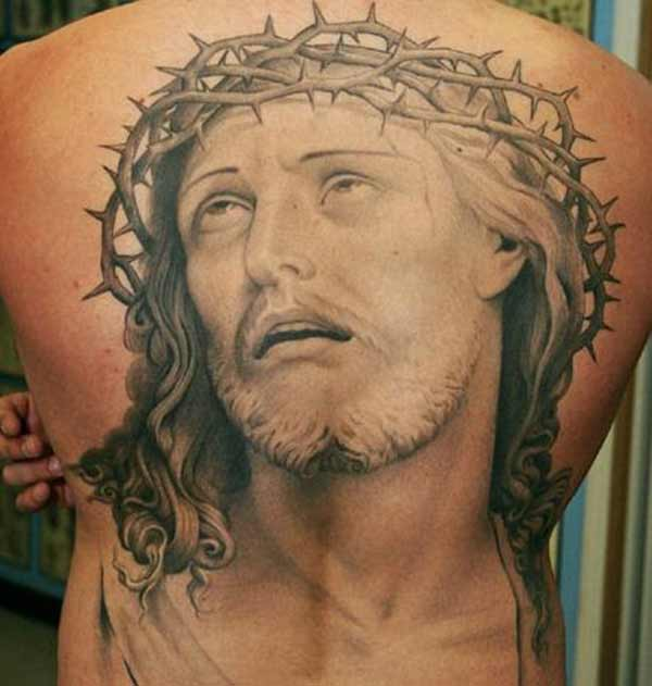 jesus back tattoos