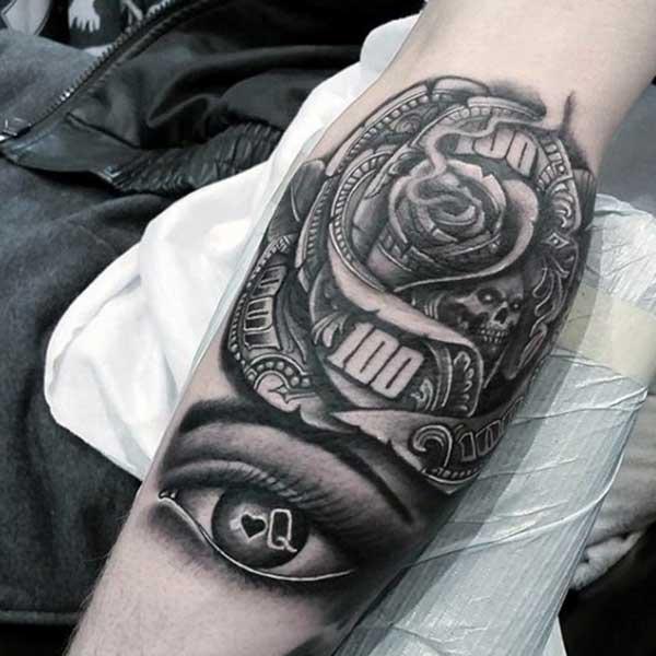 novac ruža tetovaža dizajne