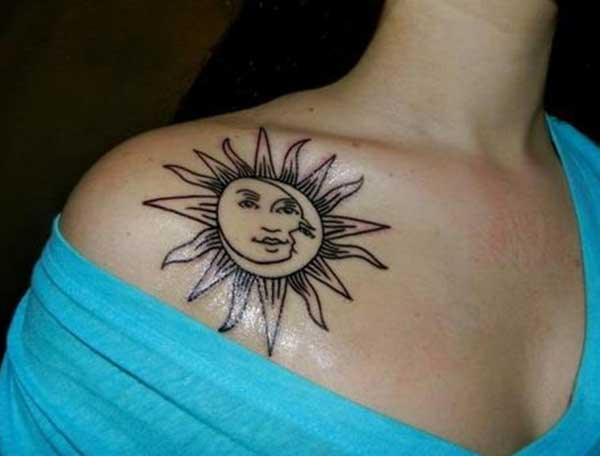 pretty sun and moon tattoos