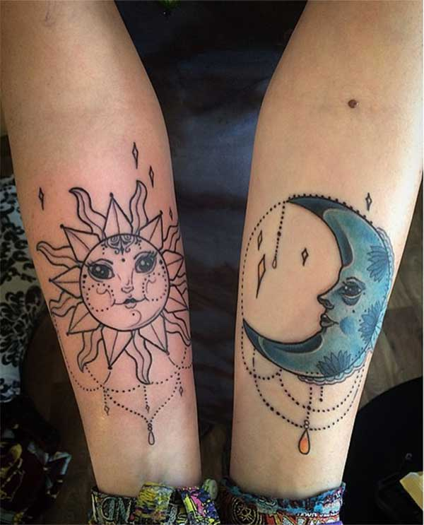 cool sun and moon tattoos
