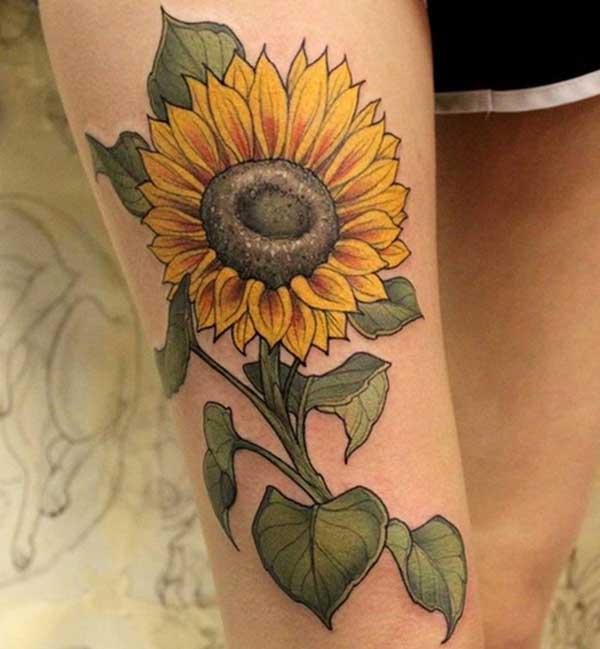 einfache Sonnenblumen-Tattoos