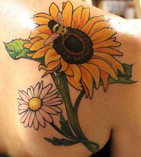 weibliche Sonnenblumen-Tattoos