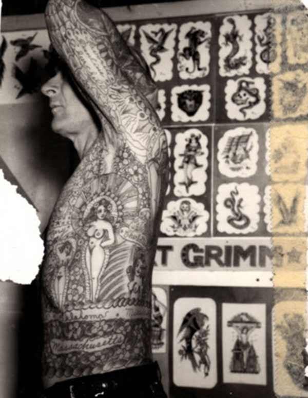 volledige lyf vintage tatoeëermerke
