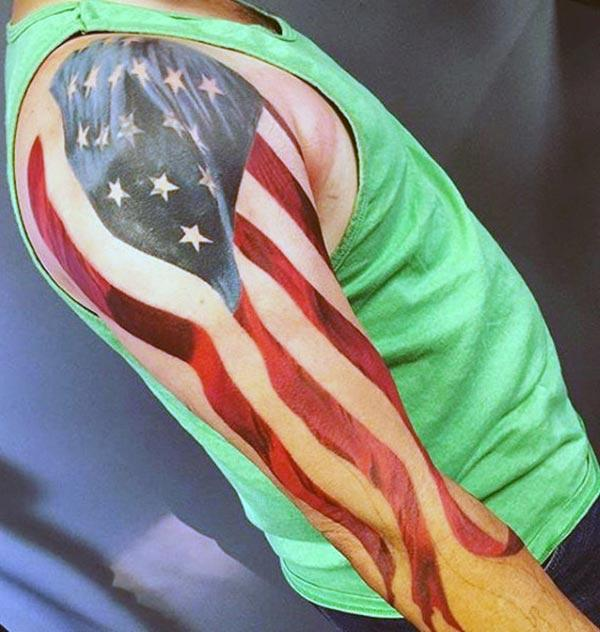 American Flag Tattoo on the right upper arm make a man look stylish
