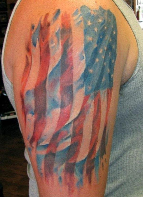 The American Flag Tattoo on the upper right arm make a man look gallant