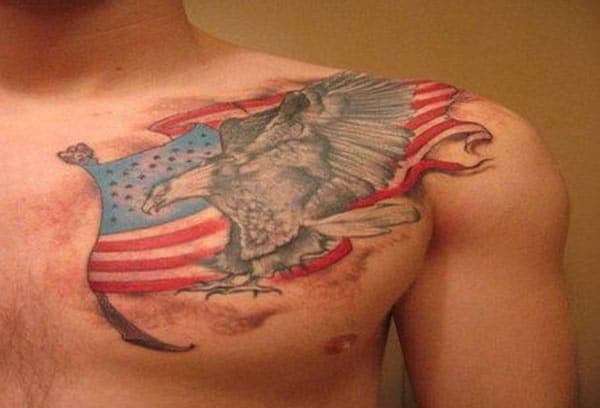 American Flag Tattoo on the upper chest makes a man have a hunky look