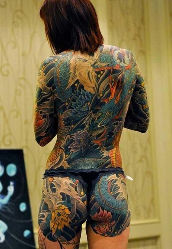 Full sake dragon tattoo ra'ayin ga mata