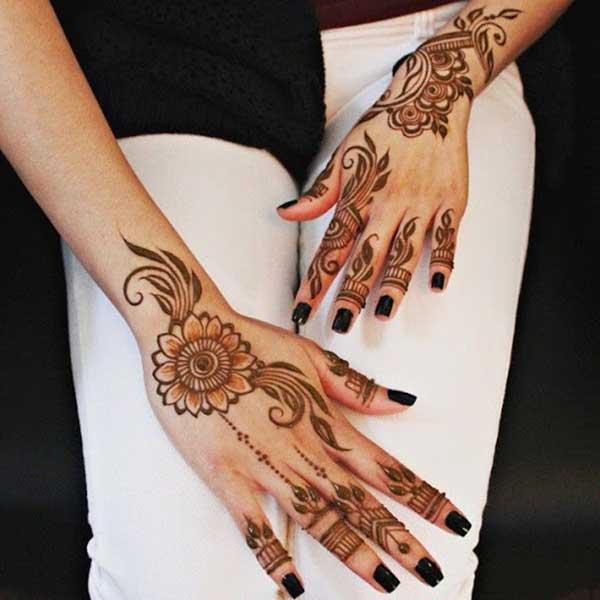 Rekaan tatu henna mehendi sejuk di tangan