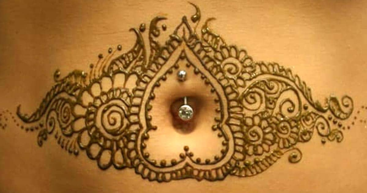 Mehndi Tattoo Stomach : Henna art stomach makedes