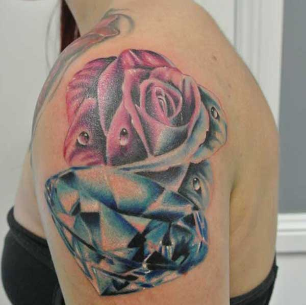 Echiche tattoo tattoo Sexy Diamond maka ụmụ agbọghọ na ubu