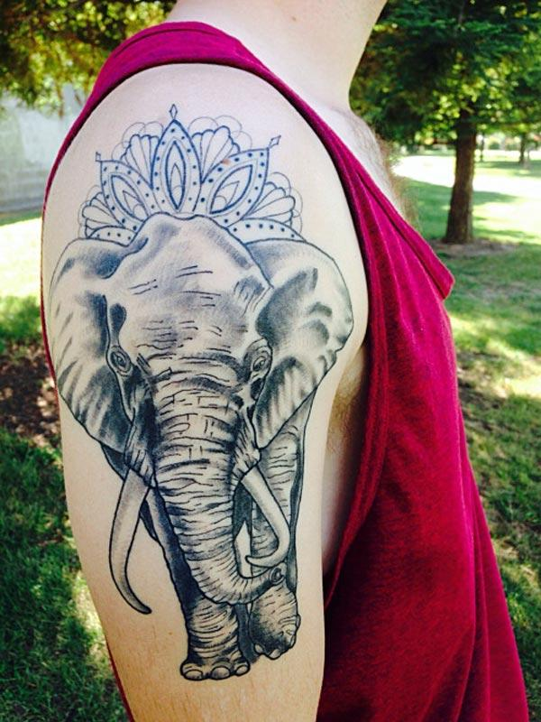Shoulder Elephant Tattoo