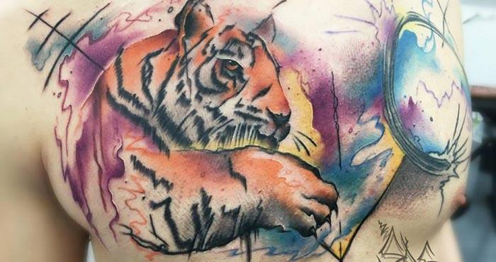 Chest Watercolor Tattoos for Men