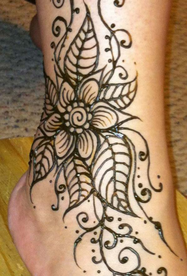 Ankle Mehndi tattoo designs idea