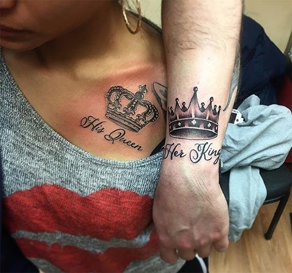 King and Queen Tattoos makes couples look august and admirable