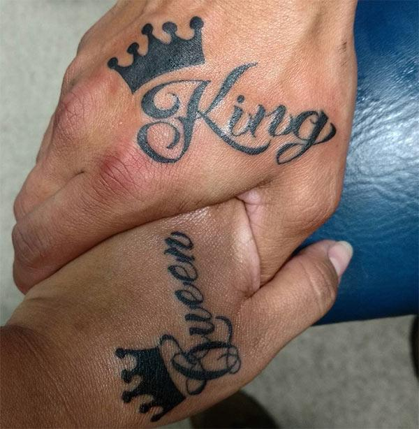 King and Queen Tattooson the hand brings the astonishing look