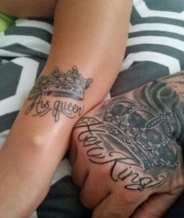 King and Queen Tattoos at the back of the arm make couples look comely