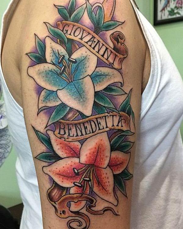 Lub Ink tsim nyob rau hauv no Lily tattoo txuam xim ntawm daim tawv nqaij kom tus txiv neej saib zoo kawg li