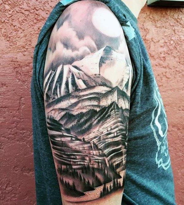 Mountain Tattoo on the shoulder makes a man look foxy
