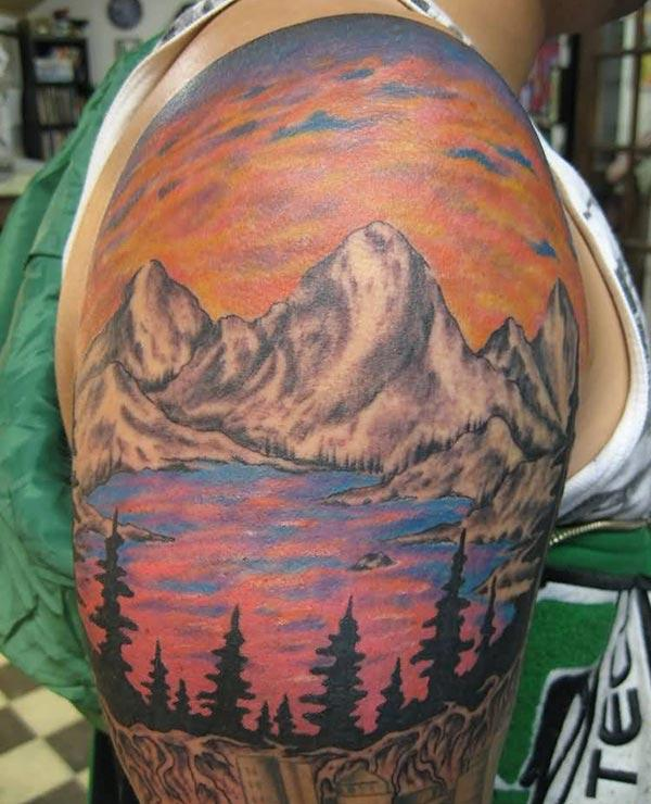 Mountain Tattoo on the shoulder makes a man look cool