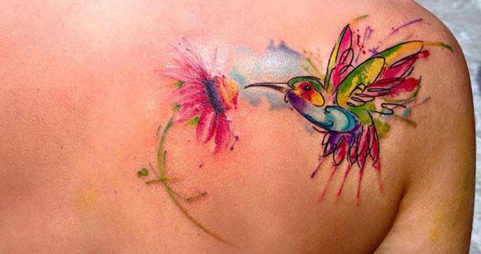 Watercolor Back Shoulder Tattoos for Girls