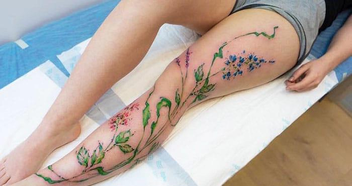 Watercolor Leg Tattoos for Girls